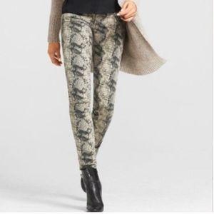 CABI Snake Print Diamondback Skinny Jeans Tan 6